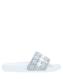 Anklet-embellished crochet-mesh pumps
