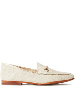 Woman Loraine Embellished Metallic Canvas Collapsible-heel Loafers