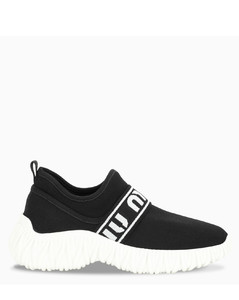 Black stretch knit sneakers