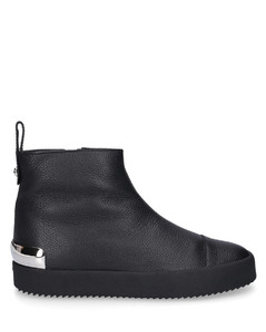 High-Top Sneakers TRACY STEEL calfskin Logo Metallic black