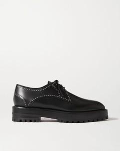 铆钉皮革布洛克鞋