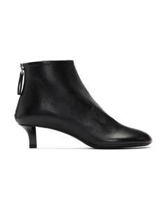 黑色皮革中跟踝靴