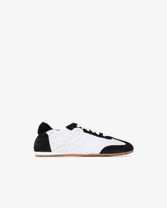 black and white ballet runner leather sneakers