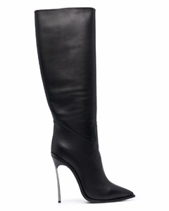 WOMEN'S AJ940BLACK BLACK LEATHER BOOTS