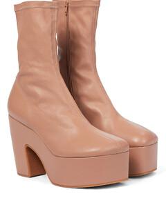 皮革防水台袜靴