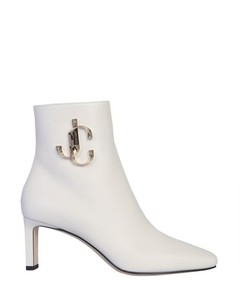 Minor White Ankle Boots with JC Logo