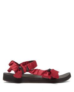 Trekky satin-wrapped velcro-strap sandals