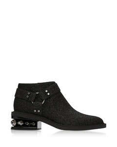 Black Glitter Textured Canvas And Leather 35mm Suzi Low Biker Boots