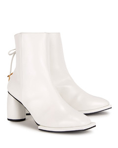 Ribbon 80 white leather ankle boots