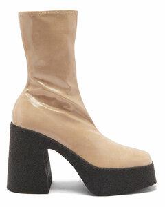 Patent faux-leather platform ankle boots