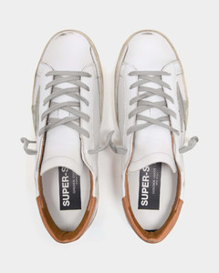 Super-Star Baskets in White and Camel Leather