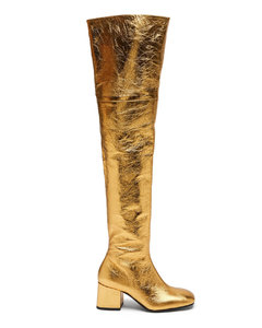 Zipped distressed-leather over-the-knee boots