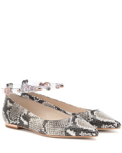 Dina embossed leather ballet flats