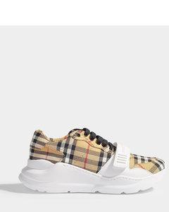 Sneakers Regis L Low En Coton BeigeàCarreaux