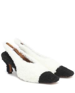 羊毛皮露跟高跟鞋