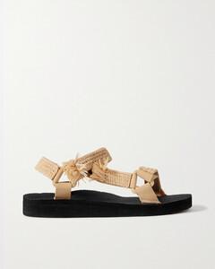 Trekky Raffia-trimmed Canvas Platform Sandals