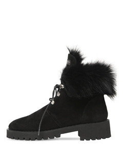 20mm Fur & Suede Combat Boots
