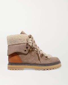 羊毛皮皮革边饰绒面革踝靴