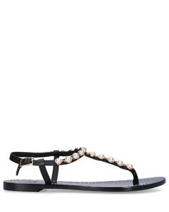 Flip Flops EMMY calfskin Beads Logo black