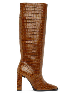 黄褐色Camilla鳄鱼纹高跟高筒靴