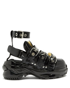 Retro-Fit ankle-strap patent-leather trainers
