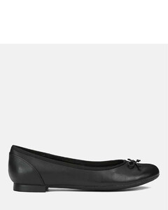 Women's Couture Bloom Leather Ballet Flats - Black