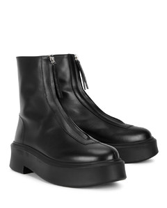 Motto black leather flatform ankle boots