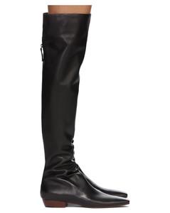 黑色Slouch Flat高筒靴