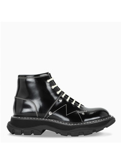 Black/white Trad lace-up ankle boots