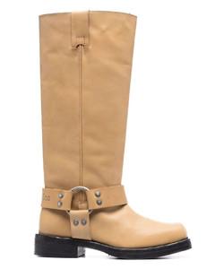 水晶缀饰皮革运动鞋