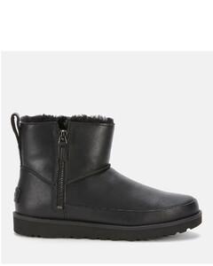 Women's Classic Zip Mini Waterproof Leather Boots - Black