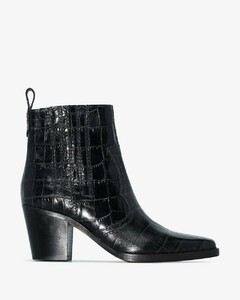 Black 75 Western mock croc ankle boots
