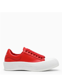 red leather Deck sneakers