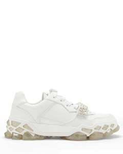 Diamond X crystal-strap leather trainers