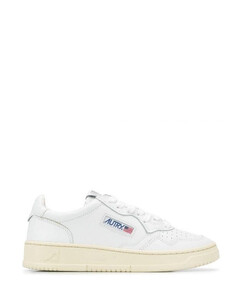 White leather side logo sneakers