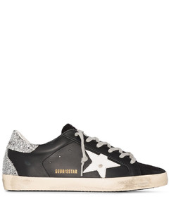 black Superstar leather sneakers