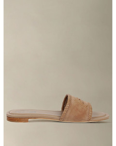 flat suede sandal with double T