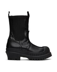 黑色皮革切尔西靴