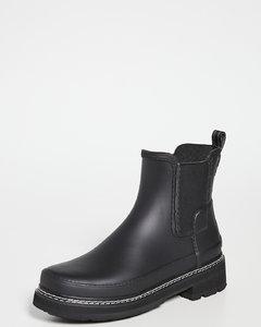 精致切尔西缝线细节威灵顿靴