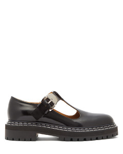Patent-leather Mary-Jane loafers