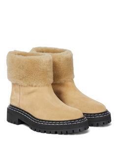 绒面革羊毛皮边饰及踝靴