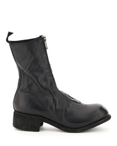 FRONT ZIP LEATHER ANKLE BOOTS