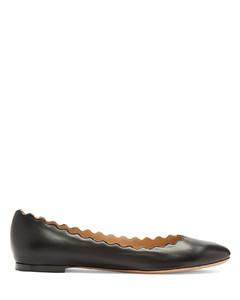Lauren scallop-edge leather flats