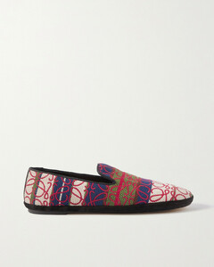 Anagram Logo-embroidered Canvas-jacquard Loafers