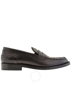 Ladies Black Leather Bedmont Eyelet Detail Penny Loafers