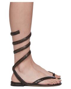棕色Spiral蟒蛇纹凉鞋
