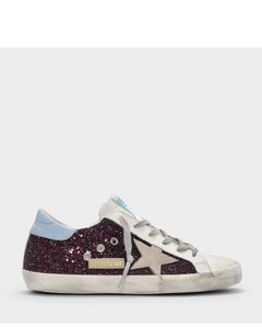 Superstar Sneakers In Burgundy Glitter Leather, Sky Blue Detail And White Star