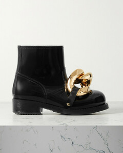 Chain-embellished Glossed-rubber Rain Boots