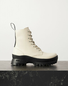 Trace Grosgrain-trimmed Vegetarian Leather Ankle Boots