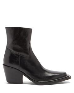 Bruna Cuban-heel polished-leather boots
